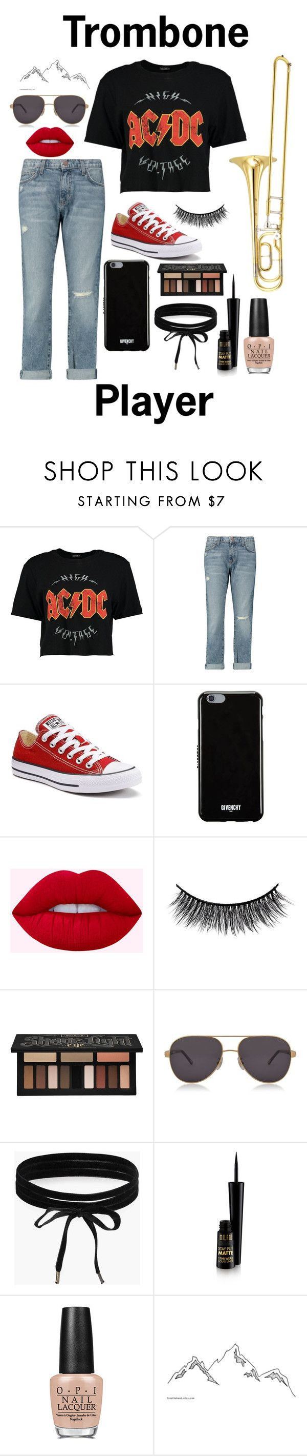 """""""Trombone Player"""" by chloebinford on Polyvore featuring Boohoo, Yamaha, Current/Elliott, Converse, Givenchy, Battington, Kat Von D, Chopard and OPI"""
