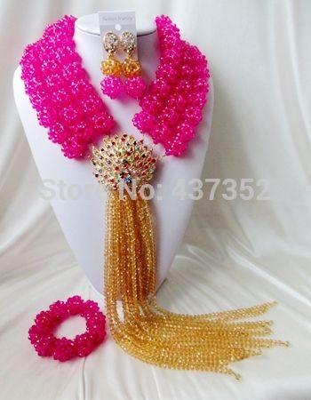 Фуксия Шампанское Золото хрустальный шар и нитей ожерелья костюма ювелирные нигерийский свадьбы африканские бусы комплект ювелирных изделий ABC468