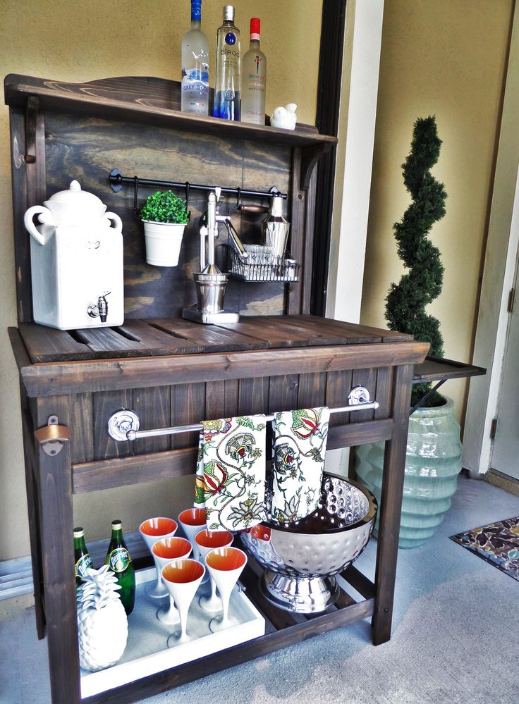 Diy Potting Bench Turned Outdoor Bar Outdoor Bar Cart