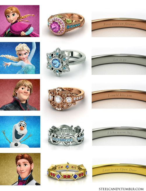 and kristoffs are rose then how elsas and olafs silver and hans has his own color gold its like annas and kristoffs are wedding rings and elsas - Disney Inspired Wedding Rings