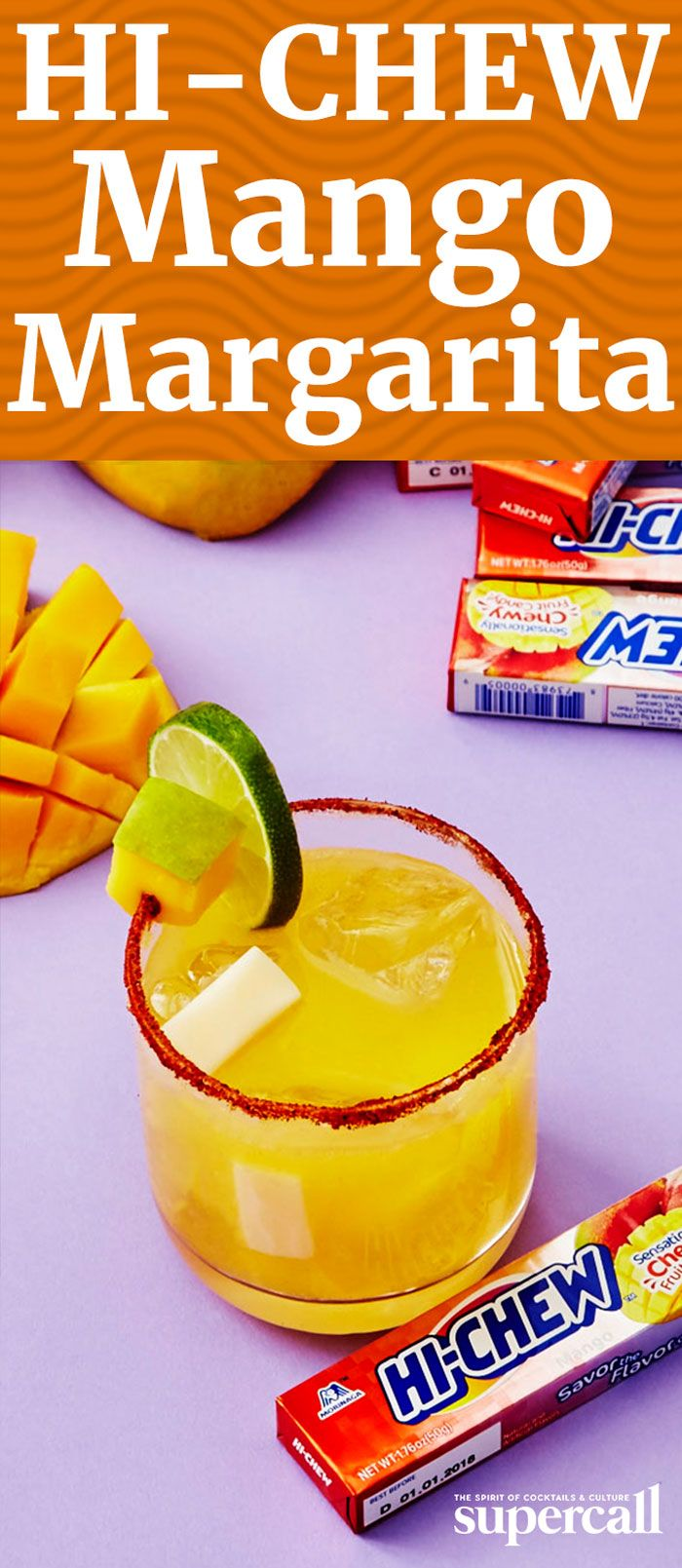 The Mango Chile-rita is a fun, slightly spicy twist on the classic Margarita. Made with Mango HI-CHEW-infused reposado tequila—excellent aged tequila that really heightens the mango flavor—this cocktail provides all the refreshing flavors of summer and a touch of spice.