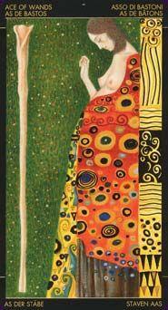 Ace of Wands, from the Golden Tarot of Klimt - what a beautiful deck   #art #illustration #tarot