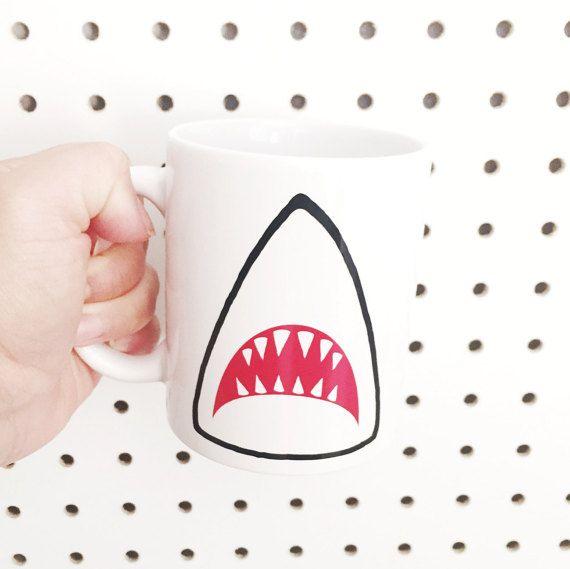 Shark Mug // White Multi-purpose Container Coffee by CreepySt
