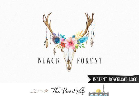 Instant Download Logo Premade Logo Design Antler Floral Logo Rustic Photoshop Logo PSD