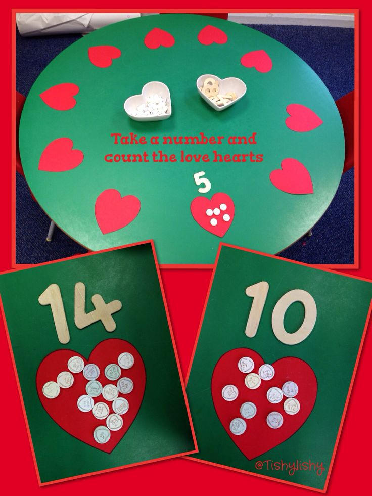 681549a33a56ad10e1cc03852ebdaa4c valentine crafts valentines day eyfs - Counting with love hearts.