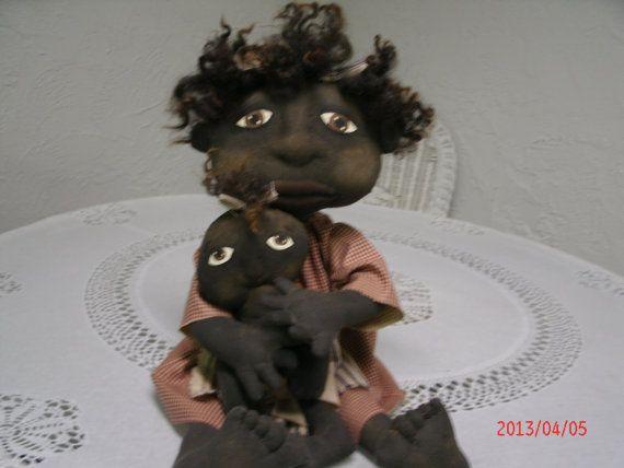 Bébé et poupée primitive Art populaire par primitivewishfuls                                                                                                                                                                                 Plus