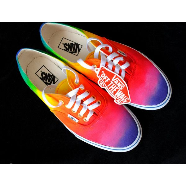 Custom handpainted rainbow sneakers, personalized shoes, rainbow... ($38) ❤ liked on Polyvore featuring shoes, sneakers, rainbow sneakers, rainbow shoes and rainbow footwear