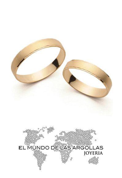 Modelo: A-A00254H Argolla oro amarillo 14k hueco con bicel facetado 4mm #ArgollasDeMatrimonio