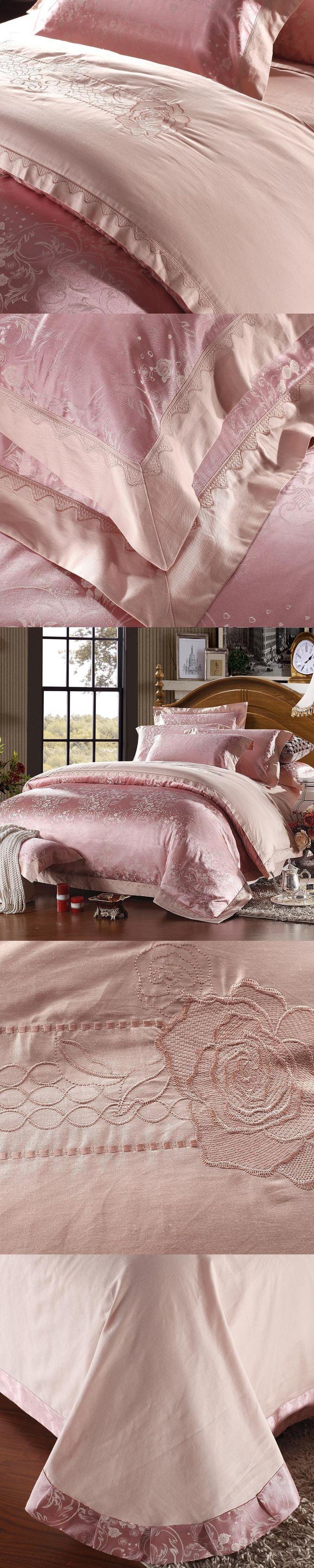 new Luxury Bedding Sets Jacquard Cotton 4pcs Queen/King Size Duvet Cover Set lace edge Bedclothes Bed Linen bed sheet