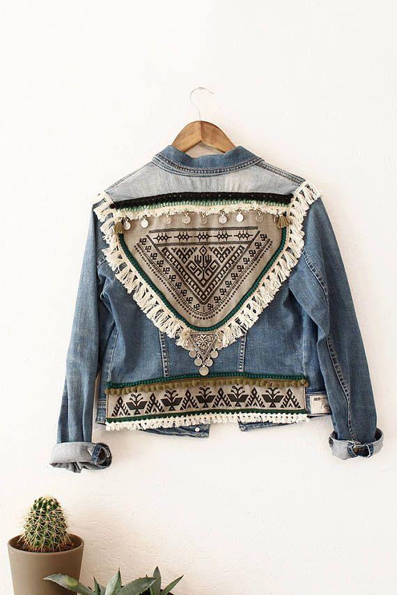 URBAN FOLK Veste jean Custom Vintage Boho Chic Style