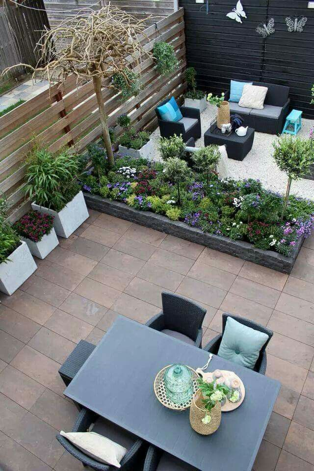 Use concrete to create an eating and lounging area outdoors.