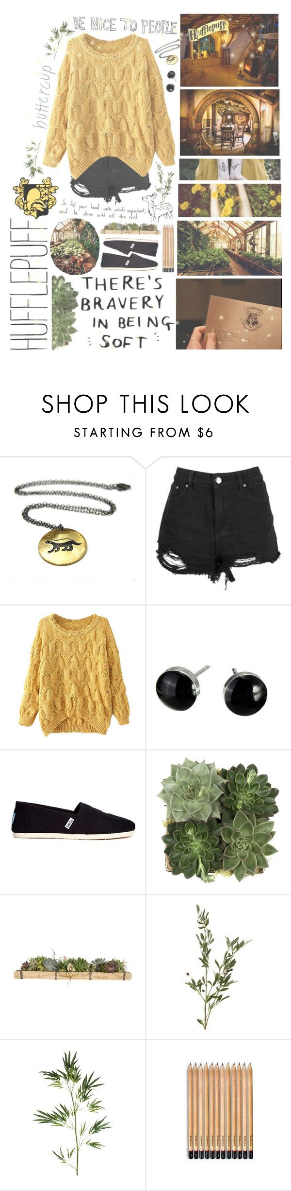 """""""Hufflepuff """" by winimae ❤ liked on Polyvore featuring ...Lost, Boohoo, Chicnova Fashion, TOMS, Jayson Home and Pier 1 Imports"""