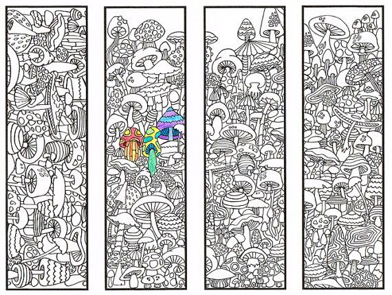 Coloring Bookmarks Mushroom page for adults and by