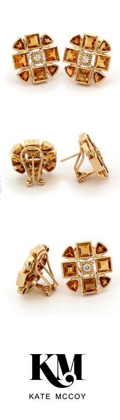 Sacred Flower Earring   18kt yellow gold #diamonds and #citrine. #Celebration #Anniversary #Milestone #Heirloom: