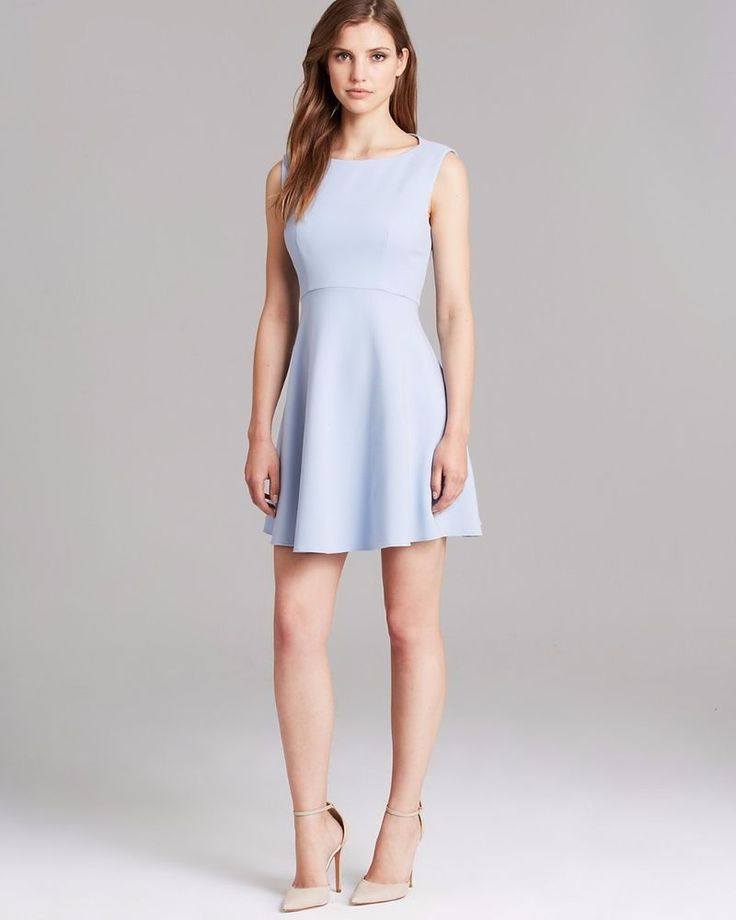 French Connection Feather Ruth Classic Light Blue Fit & Flare Dress 10 New $168