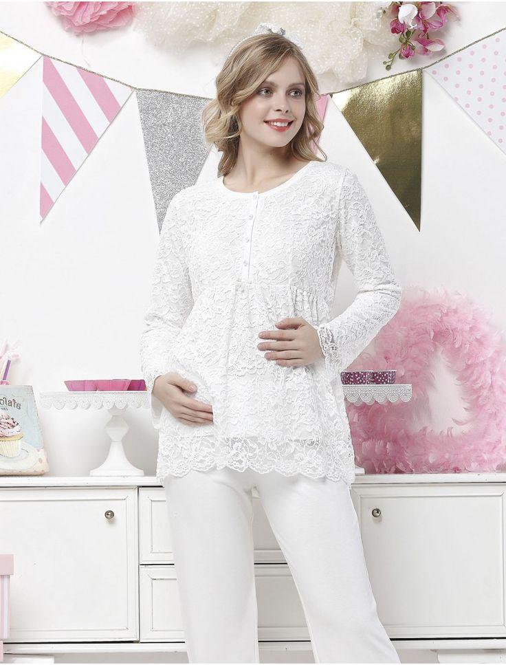 Dantelli hamile pijama takımı modeli. Aqua Lohusa Pijama Takım 17004 #pijama #lohusa #hamilegiyim #kadın #gizlicekmece