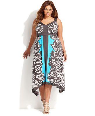 INC International Concepts Plus Size Sleeveless Leaf-Print Colorblocked Dress