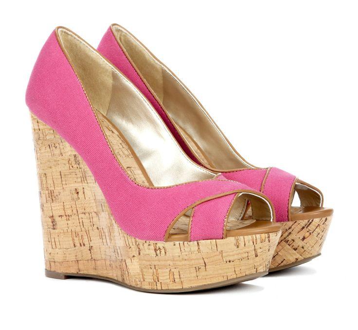 pink + cork wedges