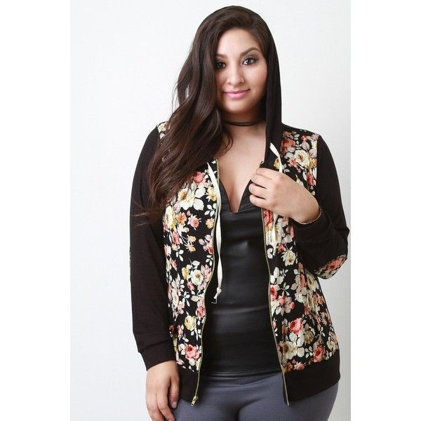 Floral Print Hooded Zip Up Sweater ($52) via Polyvore featuring tops, hoodies, plus size zip up hoodie, women's plus size tops, hooded pullover, drawstring hoodie and plus size zip up hoodies