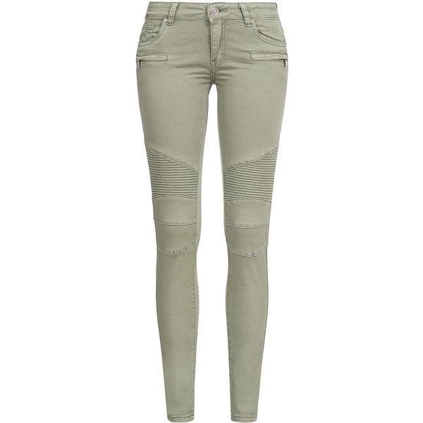 Hailys Damen Jeans Biker Style 5-Pockets und Zipper Stretch khaki grün (€33) ❤ liked on Polyvore featuring jeans, skinny biker jeans, stretchy skinny jeans, super stretch jeans, khaki green jeans and khaki jeans