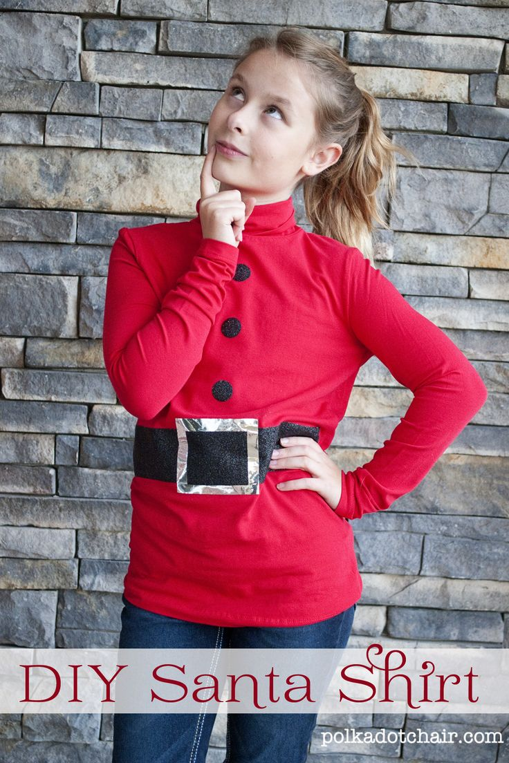 DIY Santa shirt- cute for caroling with scouts or christmas play