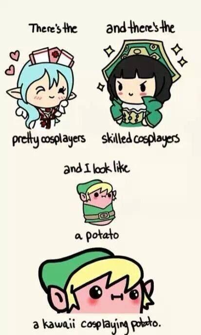 Una patata kawaii que está disfrazada de Link(que quieres más) Más