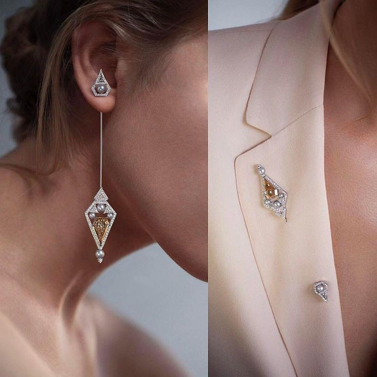 So gorgeous! This amazing design is being debuted by @nikoskoulisjewels at @by_couture in Vegas. The earring that can also be worn as a brooch. It features a 4.70 cts kite shaped brown diamond ,trillion shaped white diamonds and natural silver pearls.