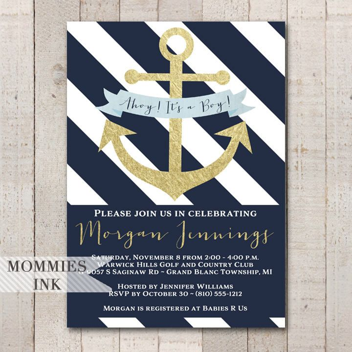 Nautical Baby Shower Invitation, Navy and White Invitation, Anchor Invitation, Gold Anchor Invite, Ahoy Its a Boy Baby Shower Invite, Gold by MommiesInk on Etsy https://www.etsy.com/listing/541351690/nautical-baby-shower-invitation-navy-and