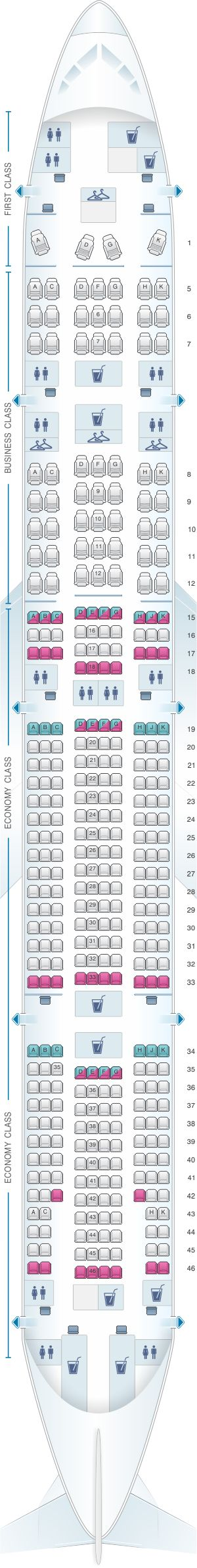 Seat map for TAM Airlines Boeing B777 300ER