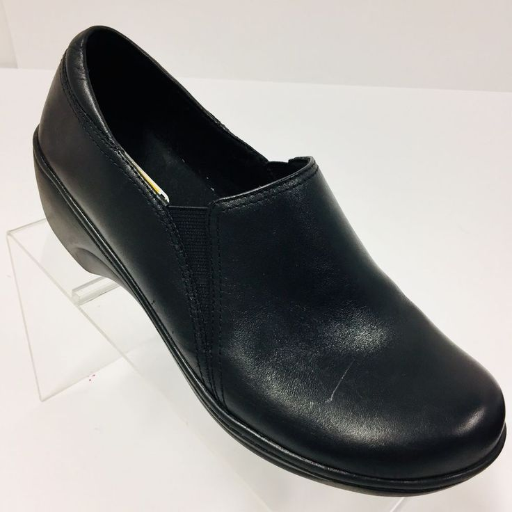 Clarks womens black size 75m leather comfort clogs work