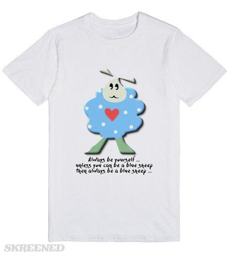 Blue polka dot sheep | Design of a blue polka dot sheep with wording #Skreened