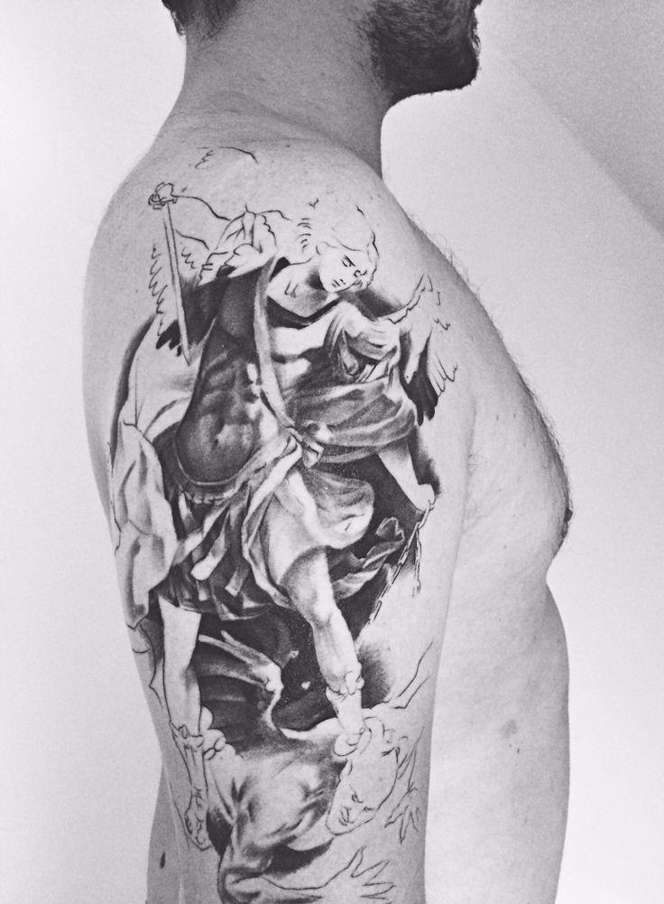 St. Michael Tattoo - work in progress - by Nasko, Godfather Tattoo Nürnberg. #StMichael #StMichaelTattoo #ErzengelMichael #workinprogress #godfathertattoonuernberg