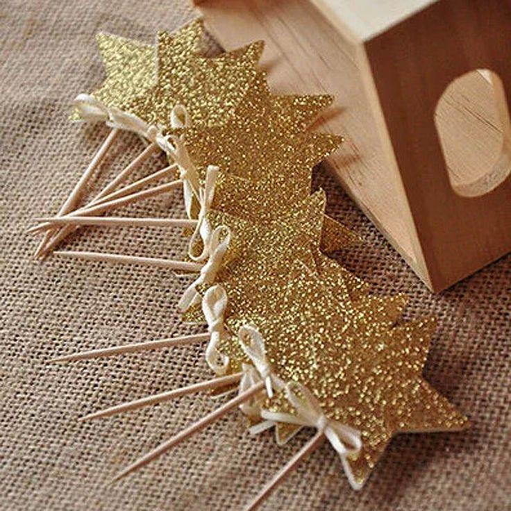 10 pcs gold Glitter Estrela chapéus de Coco Do Queque Fontes Do Partido ouro Twinkle Little Star Partido primeiro Aniversário de Casamento Véspera de ano Novo partido em de no AliExpress.com | Alibaba Group