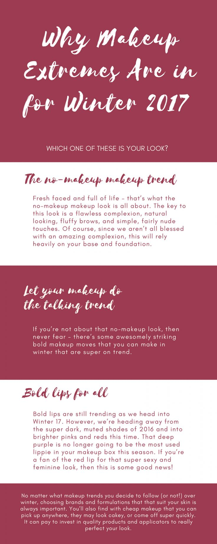 #Makeuptrends change with the changes in seasons. There are two latest makeup extremes which are in for this winter i.e. little or lots of Makeup. However, you may learn the best makeup techniques by joining the best #makeupacademy. Go through this Infographic to know the details regarding makeup extremes.