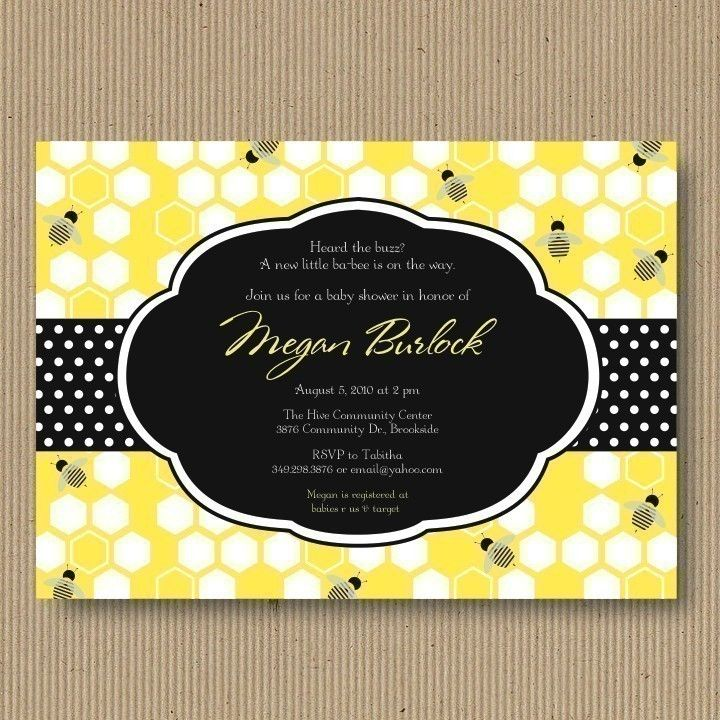 Yellow Black White Bumble Bee Baby Shower Invitation I Customize