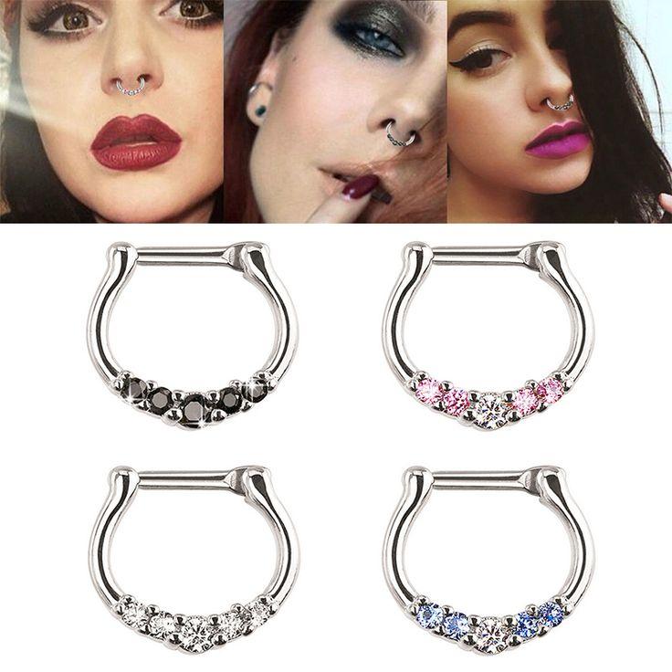 1Pc New Women Surgical Steel Crystal Zircon Nose Ring Bone Stud Hoop Body Piercing Jewelry -- BuyinCoins.com