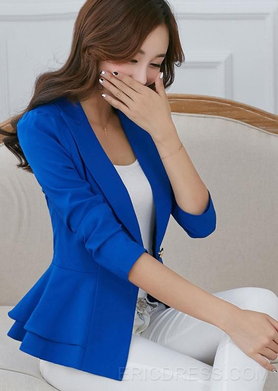 Korean Style Candy Color Slim Falbala Blazers Blazers- ericdress.com 10980386