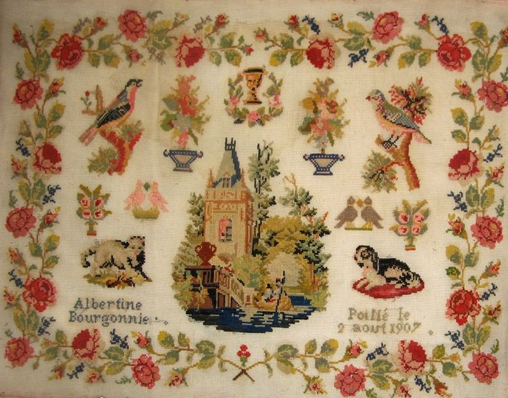 An Early 20th Century FRENCH Sampler Stitched By Albertine Bourgonnie & Dated 1907