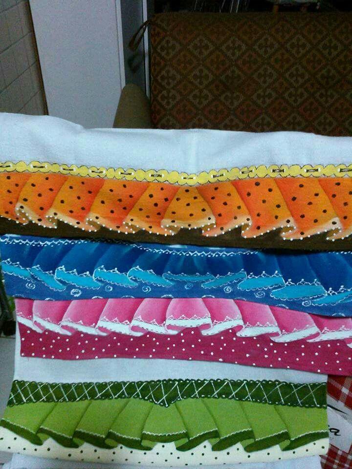 Pintura em tecido - barrados feitos por Graça Matos