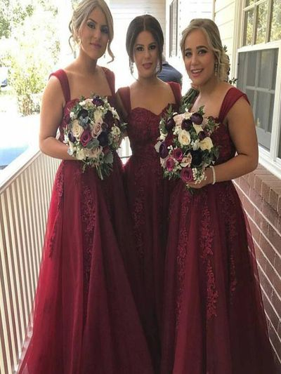 Long Bridesmaid dresses, Burgundy bridesmaid dress, bridesmaid dress with appliques, wedding party dress, Formal dress.  PD21099