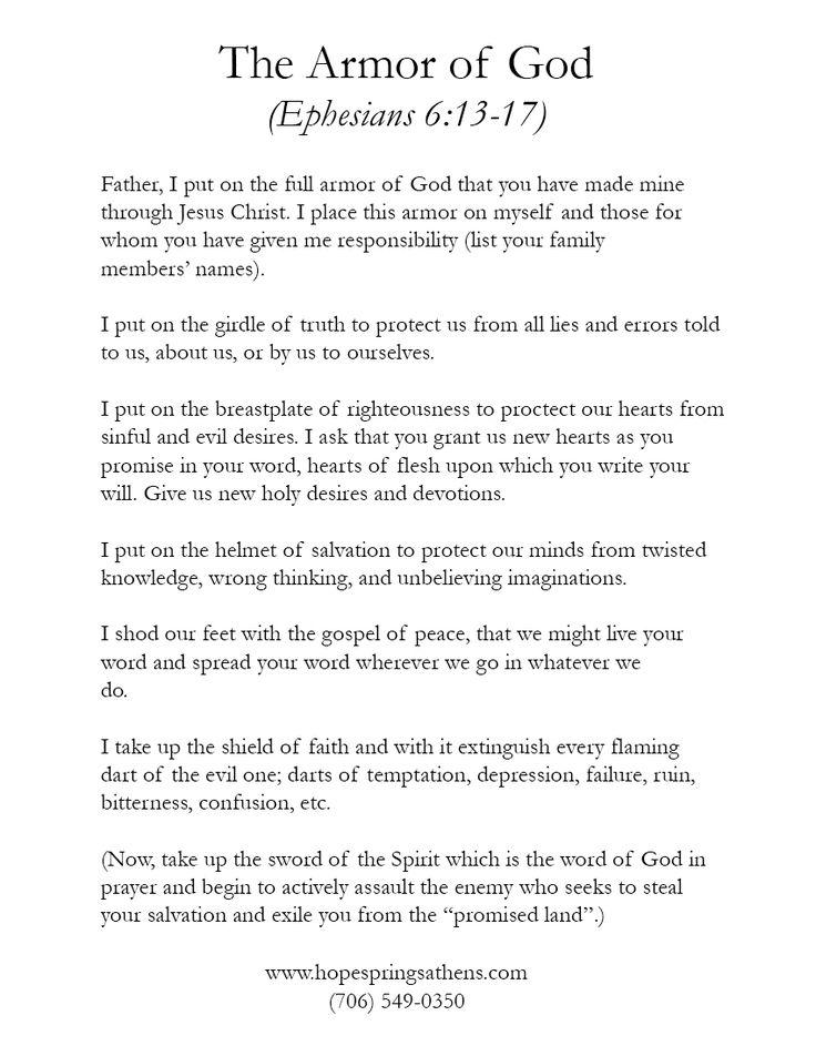 armour of god prayer | The Armor of God