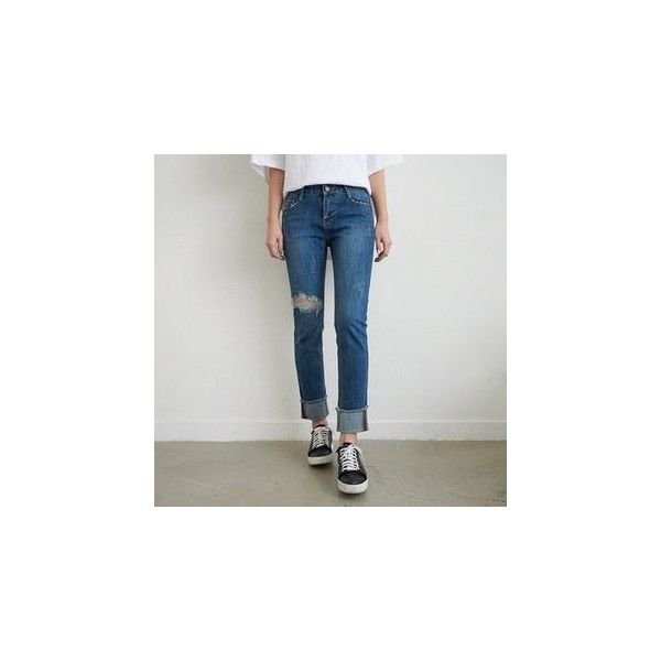 Fray-Hem Straight-Cut Jeans ($54) ❤ liked on Polyvore featuring jeans, women, frayed hem jeans, blue jeans, straight leg jeans and straight-leg jeans