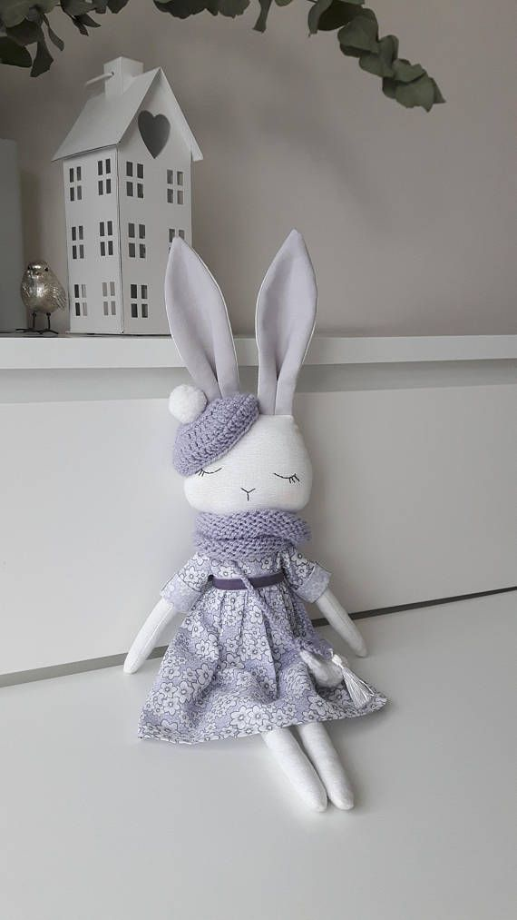 White-lavender bunny, Bunny doll,Fabric doll , Cloth doll,Gift for girl,FREE shipping