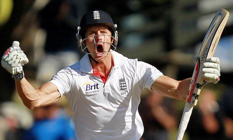 Nick Compton celebrates his second Test century in five days. Photograph: Jason O'Brien/Action Images