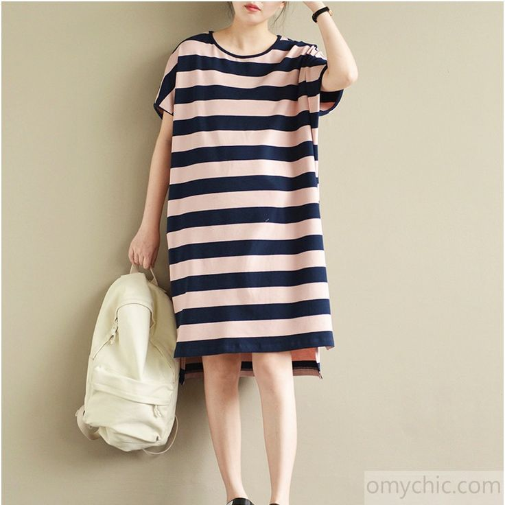 summer new striped casual knitting cotton dresses plus size sundress short sleeve low high dress
