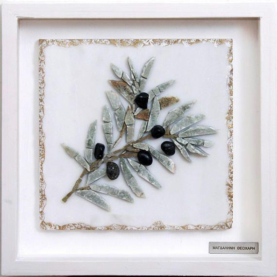 Olive Branch Greek Mosaic Art Symbol of Peace Original