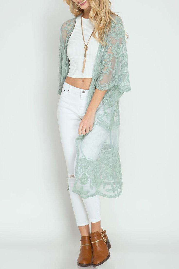 Half sleeve crochet lace midi length kimono-style duster cardigan Crochet Lace Duster by She  Sky. Clothing - Jackets Coats & Blazers - Kimonos & Wraps Miramar Beach Florida