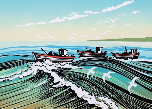 'Bringing Home The Catch' By Printmaker Rob Barnes. Blank Art Cards By Green Pebble. www.greenpebble.co.uk