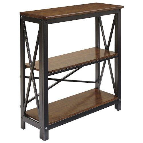 Signature Design by Ashley Shayneville Medium Bookcase with Metal Frame and Wood Shelves at Becker Furniture Dimensions: Width: 34  x  Depth: 13  x  Height: 36