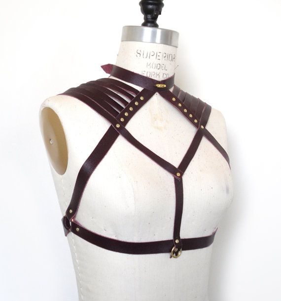 Aisling Leather Chest Harness, Cup Less Bra, Burgundy Collar, BDSM Inspired…